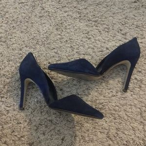 Blue Suede Shoes! Navy, high heel, lightly worn